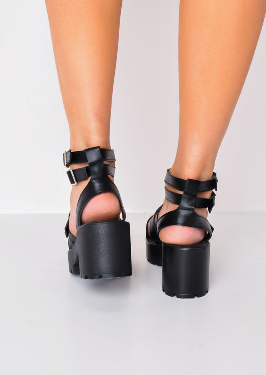 Buckle Chunky Platform Heel Sandals Black