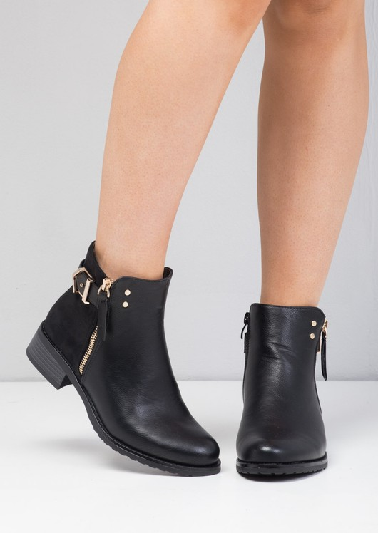 Buckle Faux Suede and Leather Chelsea Boots Black