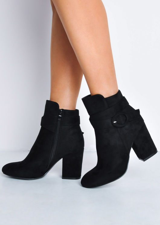 Buckle Faux Suede Block Heel Ankle Boots Black