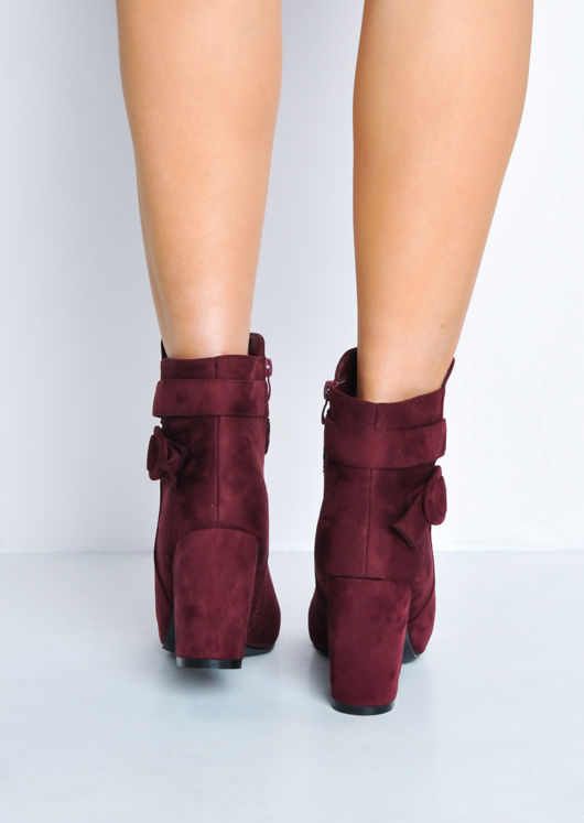 Buckle Faux Suede Block Heel Ankle Boots Burgundy Red