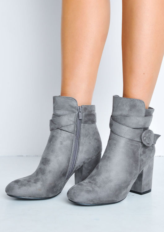 Buckle Faux Suede Block Heel Ankle Boots Grey