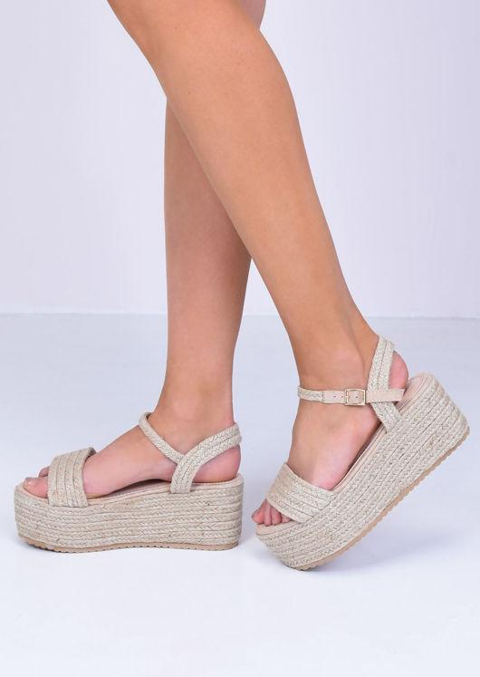 Buckle Strap Woven Flatform Sandals Beige