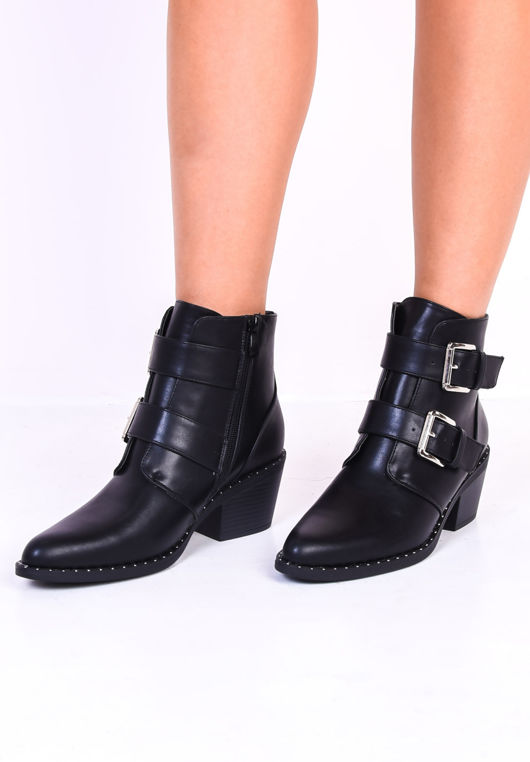 Buckled Studded Western Cowboy Ankle Boots Black