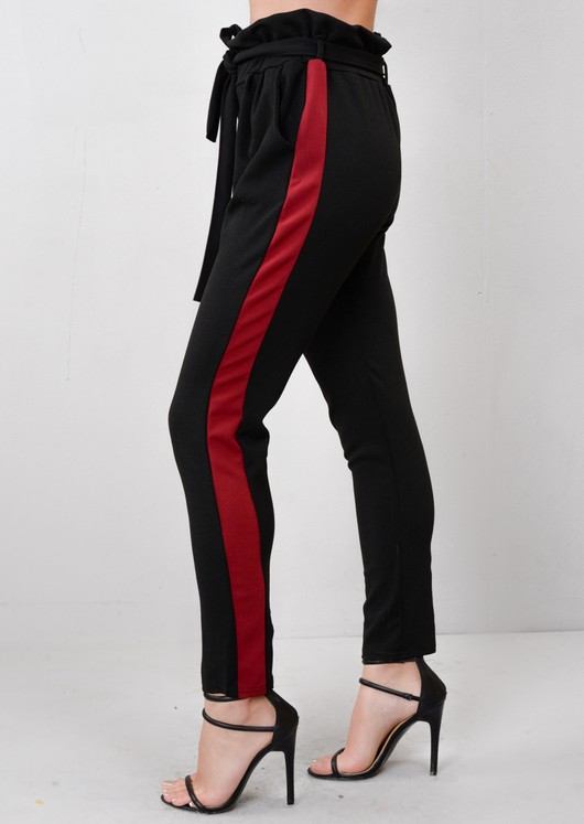Burgundy Stripe Tie Waist Paper Bag Joggers Trousers Black