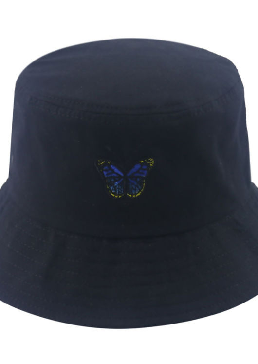Butterfly Embroidered Bucket Hat Black
