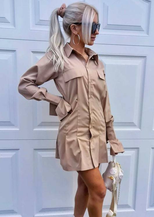Button Down Bell Sleeve Cinched Waist Mini Shirt Dress Beige