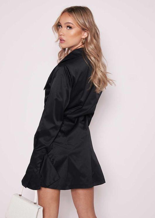 Button Down Bell Sleeve Cinched Waist Mini Shirt Dress Black