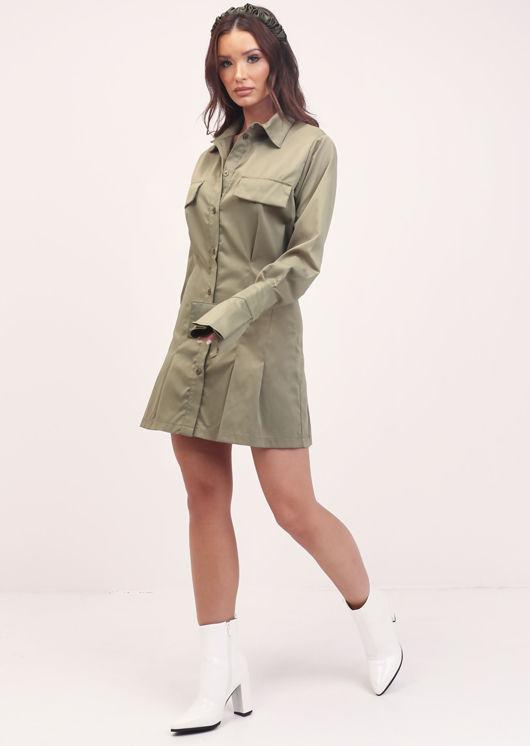 Button Down Bell Sleeve Cinched Waist Mini Shirt Dress Green
