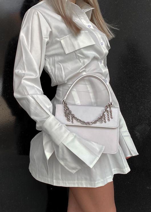 Button Down Bell Sleeve Cinched Waist Mini Shirt Dress White