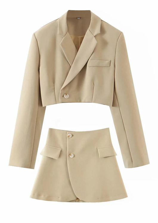 Button Down Collared Blazer And Wrap Over Mini Skirt Co-Ord Set Beige