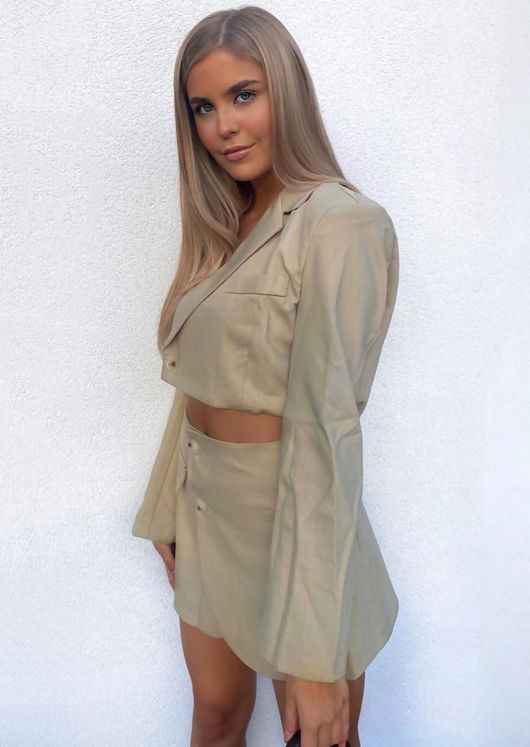 Button Down Collared Crop Blazer And Wrap Over Mini Skirt Co-Ord Set Beige