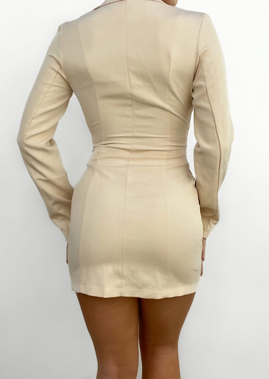 Button Down Collared Front Cut Out Blazer Mini Dress Beige