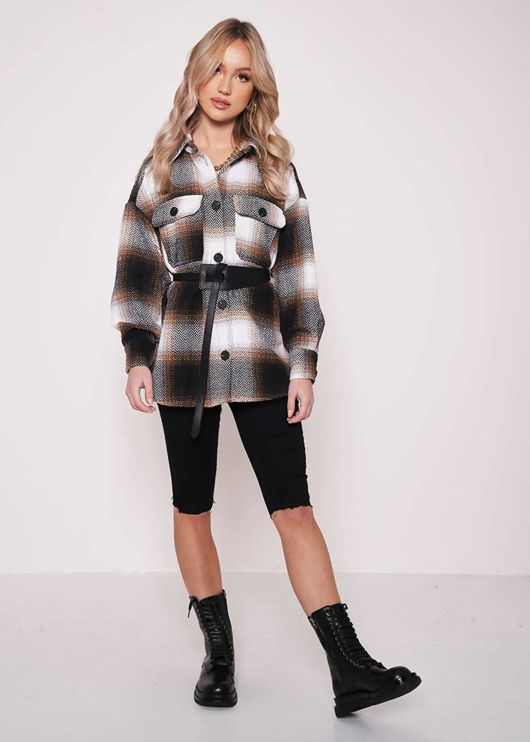 Button Down Oversized Checked Collared Shacket Brown
