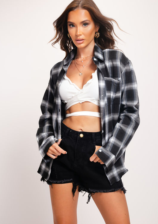 Button Down Oversized Checked Shirt Black