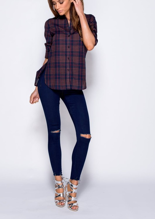Dip Hem Button Front Check Shirt Navy Blue