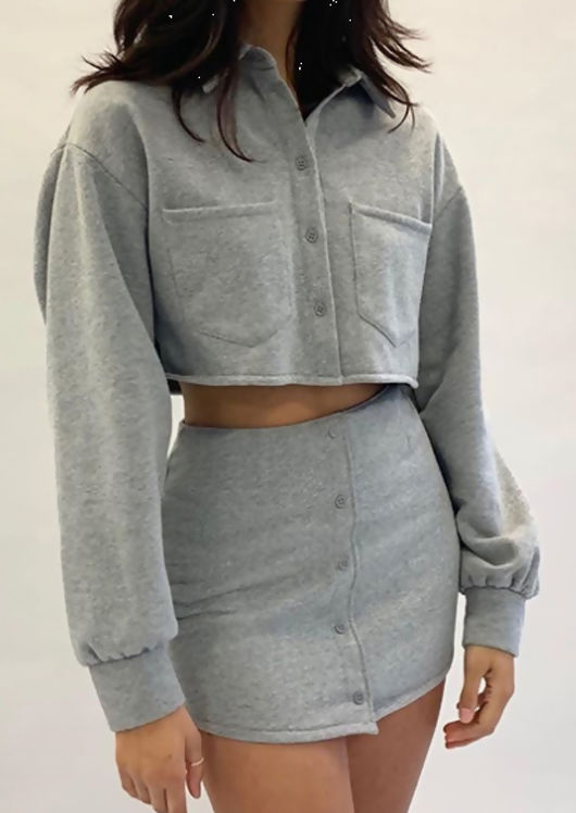 Button Front Cropped Shirt Top and Mini Skirt Co Ord Grey