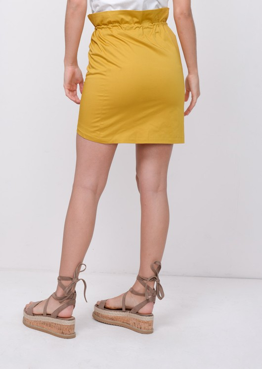 Button Front PaperbagMini Skirt Yellow