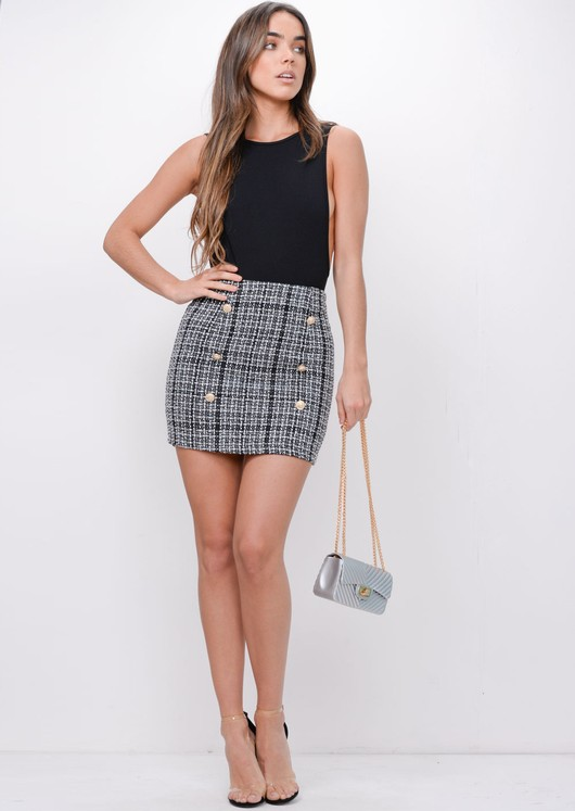 Button Front Tweed Mini Skirt Black