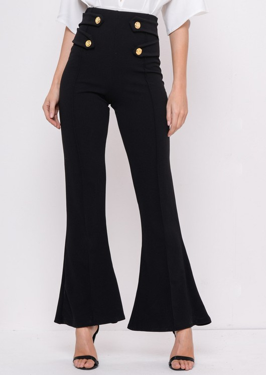 Button High Waisted Flare Trousers Black