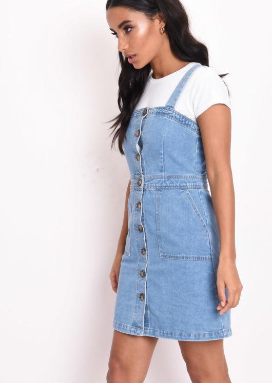 Button Through Denim Midi Dress Blue