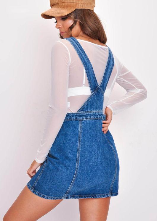 Button Through Denim Skirt Dungarees Blue
