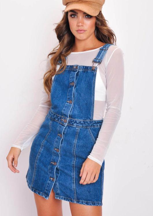 Button Through Denim Skirt Dungaree Pinafore Dress Blue