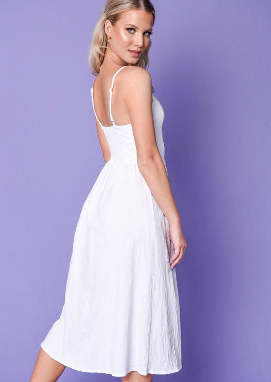 Button Through Midi Dress White