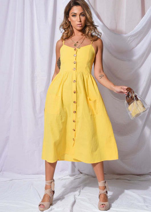 factory authentic performance sportswear new lifestyle Front Button Through Strappy Midi Dress Yellow | Lily Lulu