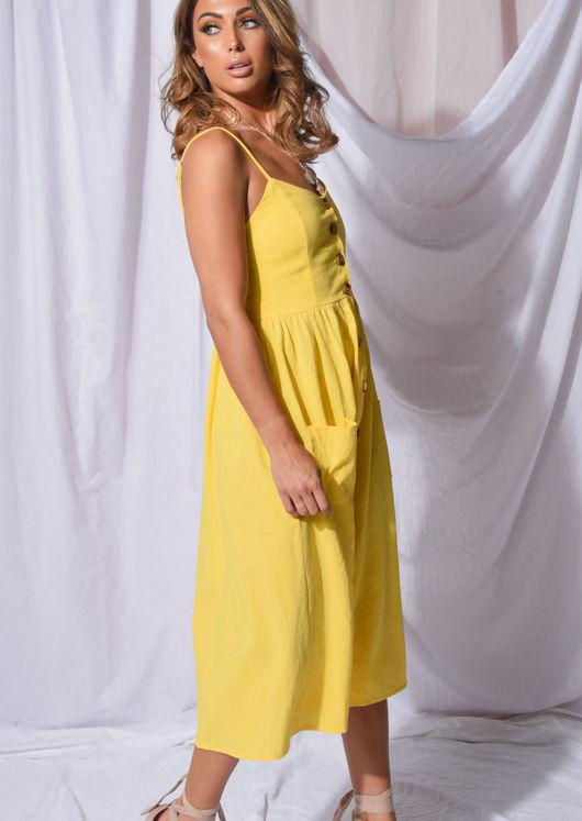 Front Button Through Strappy Midi Dress Yellow