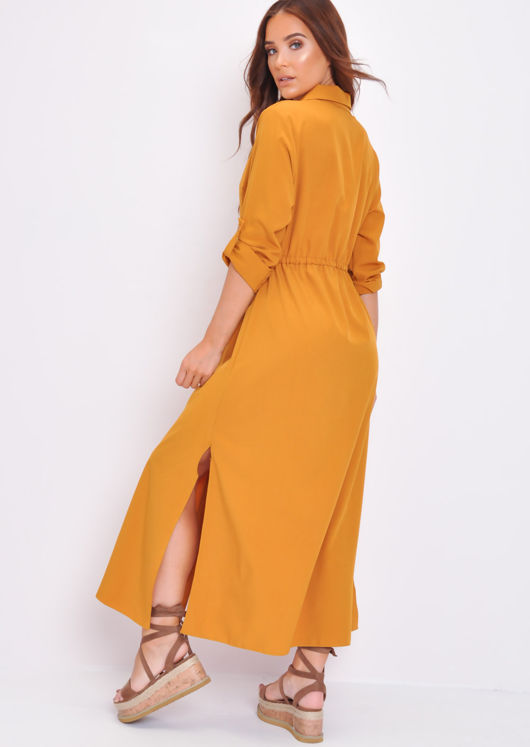 Button Through Shirt Maxi Dress Mustard Yellow