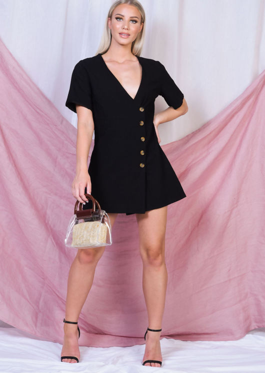 Button Through V Neck Mini Dress Black