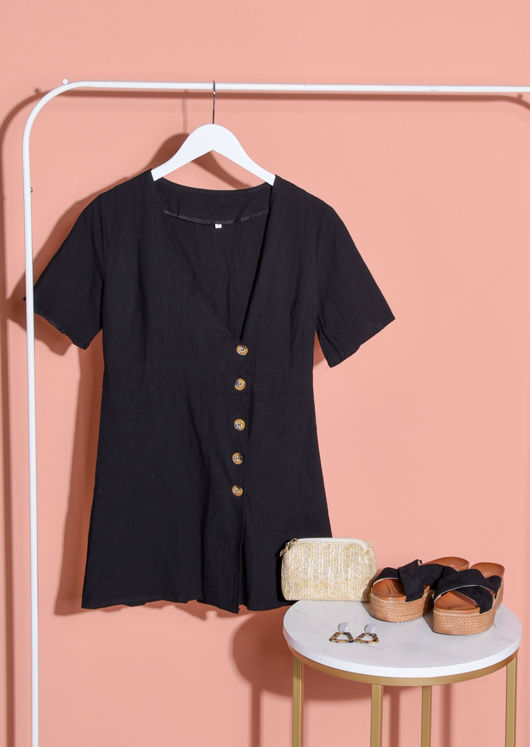 Button Through V Neck Mini Dress Black