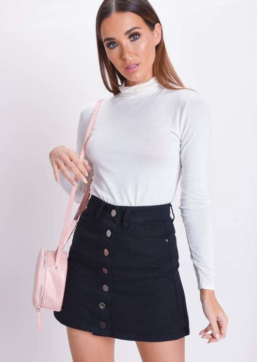 Button Up Mini Denim Skirt Black