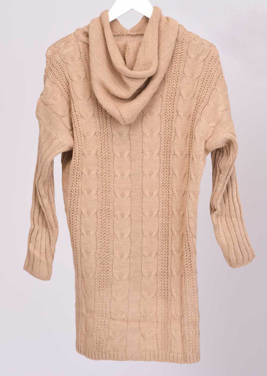 Cable Knit Hooded Jumper Top Brown