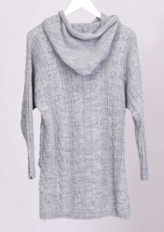 Cable Knit Hooded Jumper Top Grey