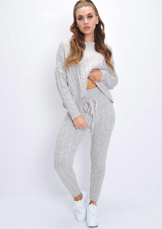 Cable Knit Loungewear Set Beige