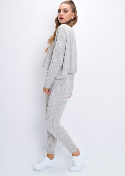 Cable Knit Loungewear Set Beige