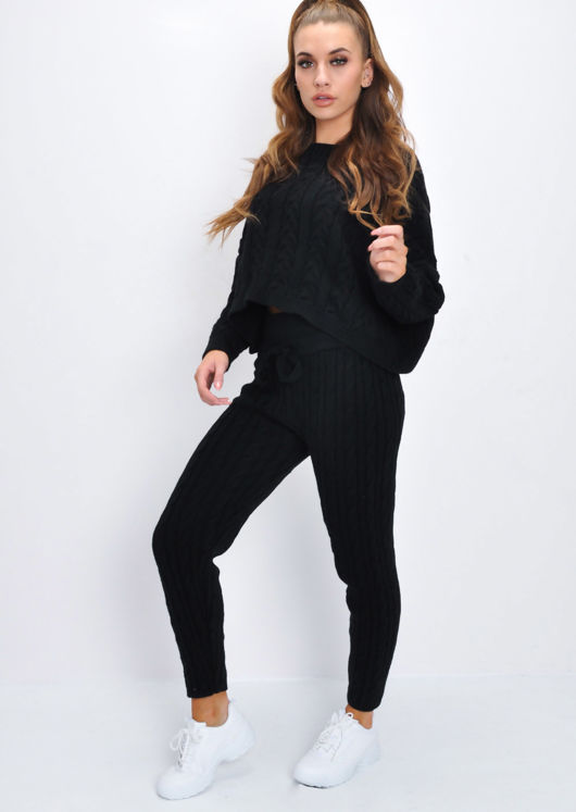 Cable Knit Loungewear Set Black