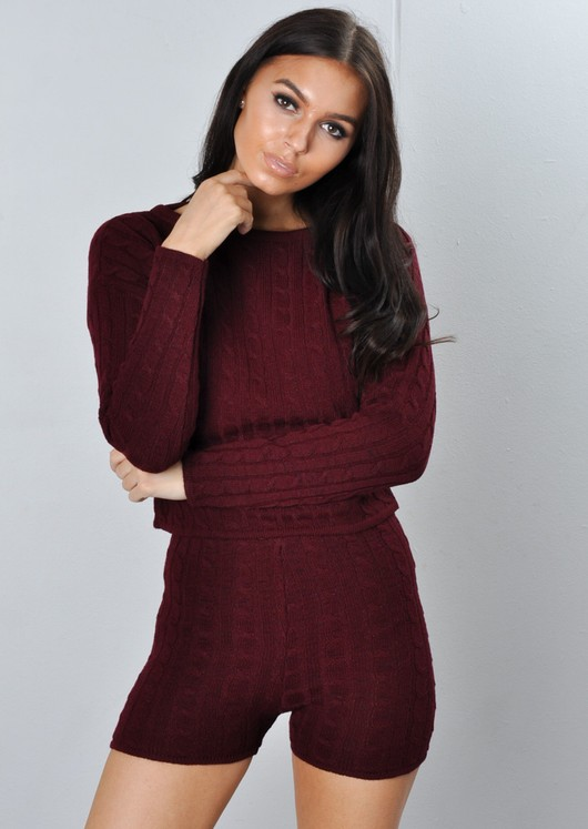 Cable Knit Loungewear Set Co Ord Burgundy Red