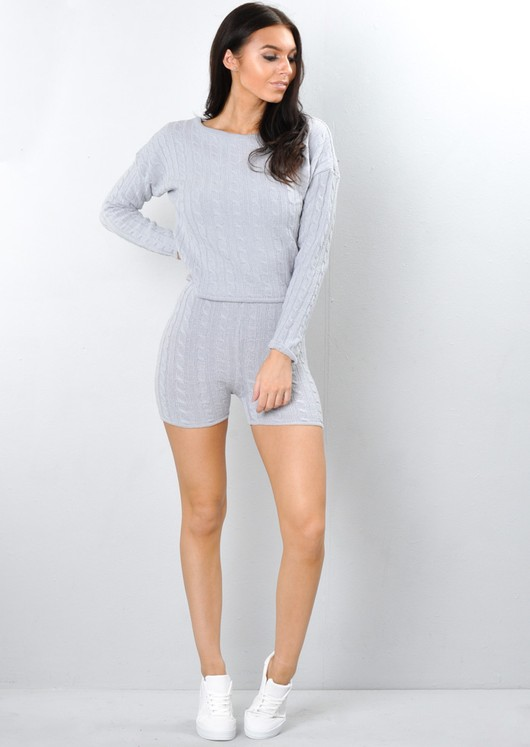 Cable Knit Loungewear Set Co Ord Grey