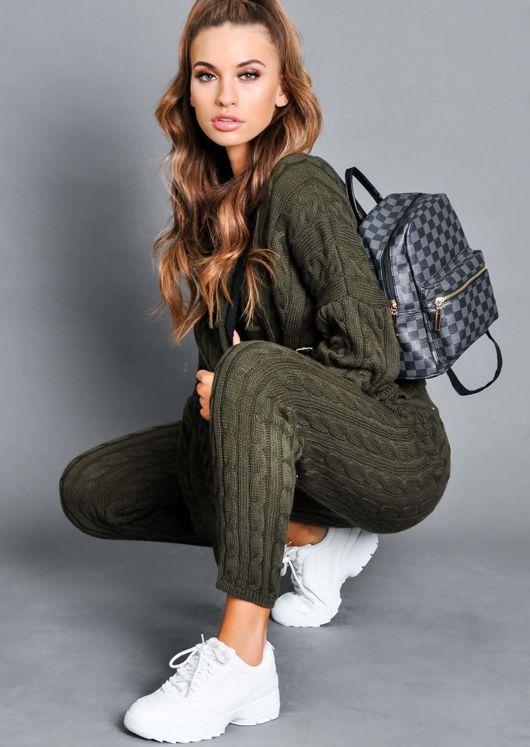 Cable Knit Loungewear Set Khaki Green