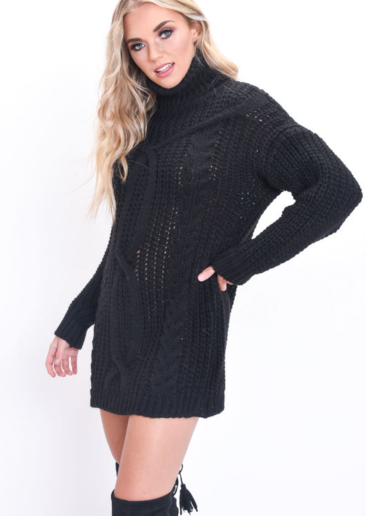 Cable Knit Roll Neck Jumper Dress Black