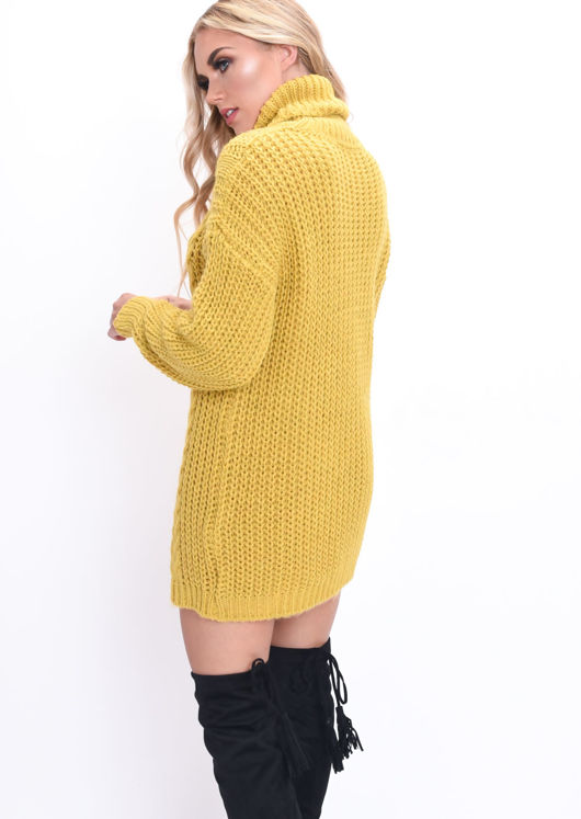 Cable Knit Roll Neck Jumper Dress Mustard Yellow