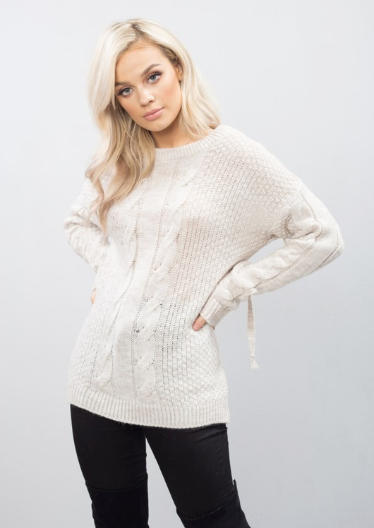 Cable Knit Lace Up Back Longline Jumper Beige