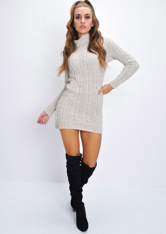 Cable Knit Turtleneck Bodycon Dress Beige