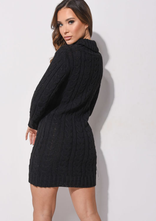 Cable Knit Turtleneck Bodycon Jumper Dress Black