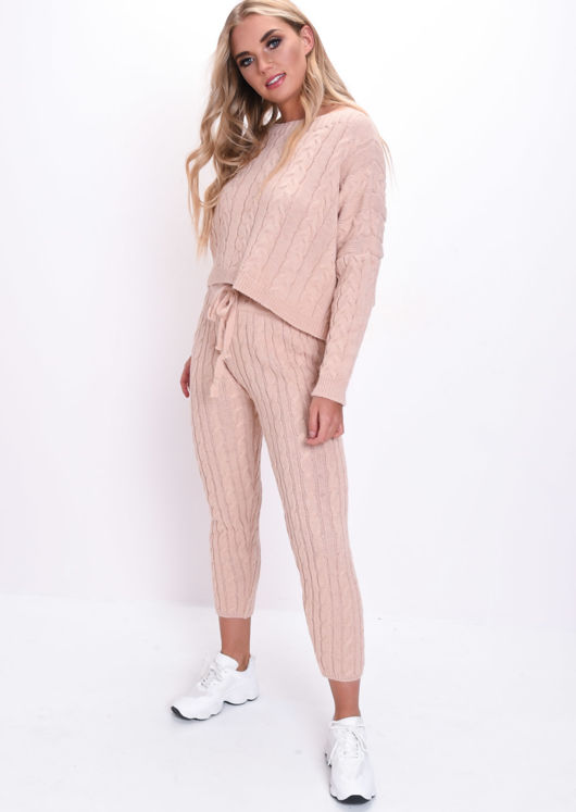 Cable Knitted Loungewear Co Ord Set Pink