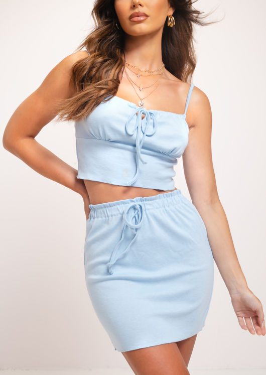 Cami Vest Crop Top Mini Skirt Co Ord Set Blue