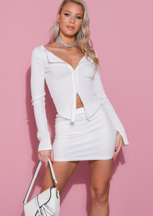 Zip Front Ribbed Cardigan Top Mini Skirt Co Ord Set White