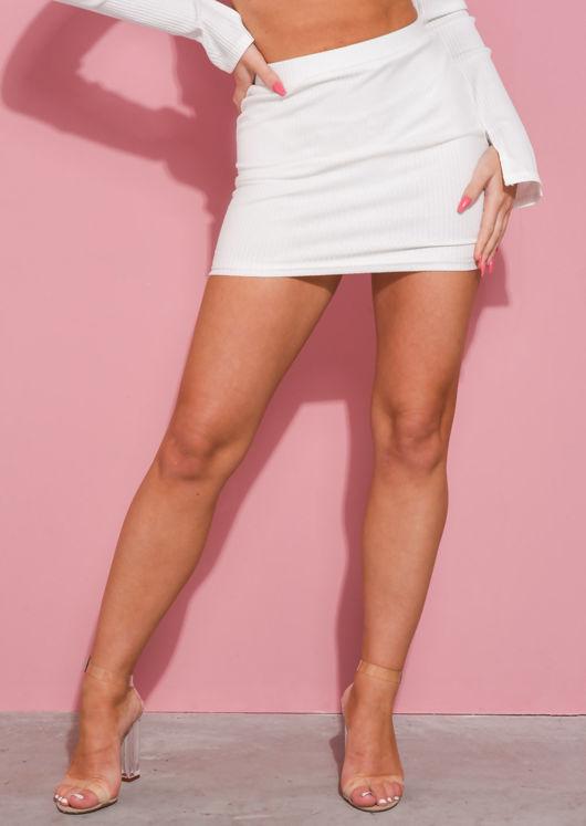 Stretch Waist Ribbed Mini Skirt White